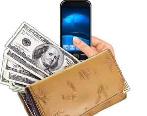 smartphone money and phone